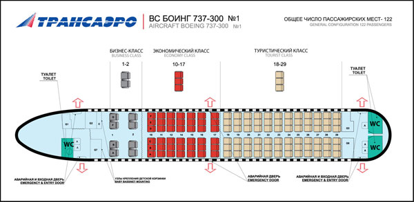 схема салона боинг 777-300 трансаэро
